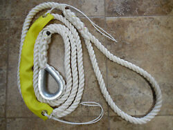 5/8 X 12 Ft N.e.ropes 3 Strand Premium Mooring Pendant S/s Thimble And Chafe Gear