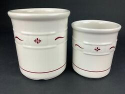 Longaberger Woven Traditions Traditional Red Set Of 2 Utensil Holders 6.75 And 5.5