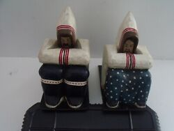 Rare Pair Inuit Hand Carved And Painted Eskimo And Wife Grenfell Mission Bookends