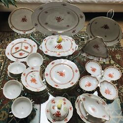 Herend Chinese Bouquet Formerly Apponyi Rust 6 Person Set With Serving Dishes