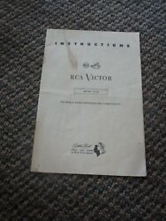 Vintage Or Antique Rca Victor Model A-106 Victrola Radio Phonograph Instructions