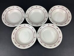 Longaberger Woven Traditions Traditional Red Five 5 8 Rimmed Soup Bowls