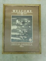 Rare Vintage Welcome Eaa 1984 Oshkosh Wi Chamber Ad Poster Board Sign Aviation