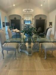 Kreiss Transitional Square Glass Top Table With Resin Stone Base And 8 Chairs