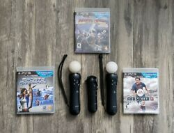 Sony Playstation Move Bundle 2 Motion Controllers 1 Navigation Ps3 Vr W/ 3 Games