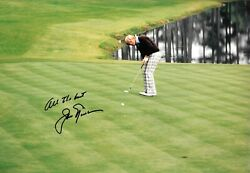 Jack Nicklaus Plays A Shot To The Hole Augusta Masters 1975 Signed 12x8 Photo
