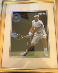 Rafael Nadal In Action At Wimbledon Returning A Shot Signed Framed 10x8 Photo