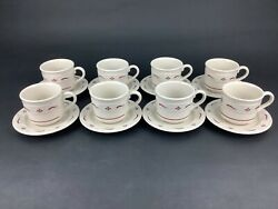 Longaberger Woven Traditions Traditional Red Set Of Eight 8 Cups And Saucers