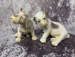 Vintage Porcelain Dog Figurines Bandg Bing And Grondahl Sealyham Puppies 2028 And 2029