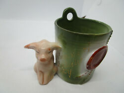 Antique German Fairing Pink Pig And A Bucket Toothpick Or Match Holder Pigs