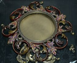 Rare Jay Strongwater Persia Ornate Scroll Arabesque Crystal Enamel Round Frame