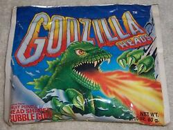 Vintage Godzilla Heads Bubble Gum 1988 New In Pouch