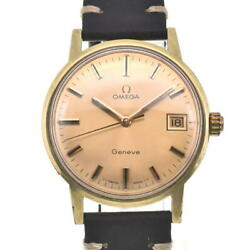 Omega Geneva Date Gold Plated/leather Gold Dial Hand Winding Mens Watch P104296