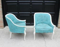 Vintage French Country Shabby Chic Grain Sack Club Chairs - A Pair