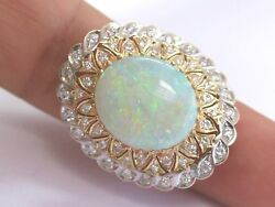 Fine Big Opal Diamond Solitaire With Accent Yellow Gold Jewelry Ring 14kt 9.36ct