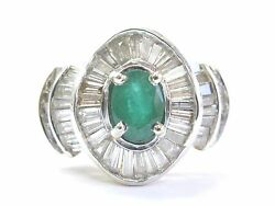 Colombian Green Emerald And Diamond Ring Solid 14kt Yellow Gold 4.20ct Sizeable