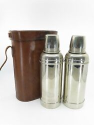 Antique Vintage Double Thermos Brown Leather Case With 2 Thermos Rare