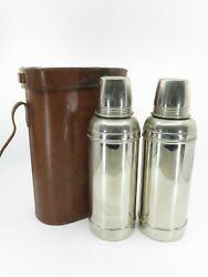 Antique Vintage Double Thermos Brown Leather Case With 2 Thermos, Rare