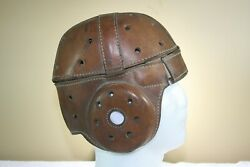 Vtg Early Antique Old Leather Suspension Game Worn Used Football Helmet Nice