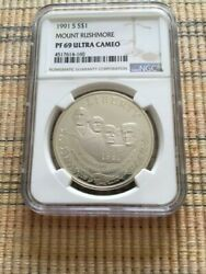1991 Mount Rushmore Ngc Pf69 Dcam Silver Coin