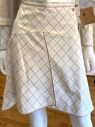 8,690 Nwt 2015 Leather Diamond 15p Long Suit Skirt Only 34 36 2 4 Gold S