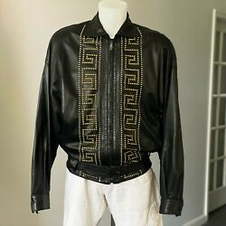 Gianni Versace Black Studded Leather Jacket With Zip Size It 52 From Ss 1992