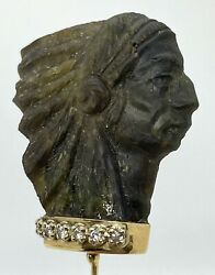 Antique Vintage 14 K Gold Diamond Carved Black Opal Indian Chief's Head Hat Pin