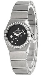 New Omega Constellation 24mm Ss Star Blk Dial Womenand039s Watch 12315246001001