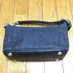 Mini Bag With A Handle Canvas And Leather Black