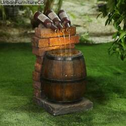 Farmhouse Garden Resin Wine Bottle And Barrel Outdoor Fountain With Led Lights