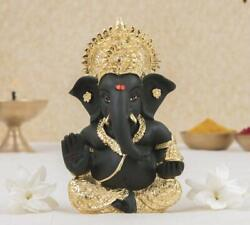 Ganesha Idol 1 Pc Of Poly Resin Gold And Kaai Green Color For Car Dashboard