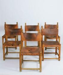 Set Of Six Hungarian Folk Art Rustic Carved Oak And Leather Dining Chairs