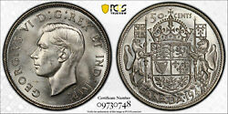 Canada, 1947 Ml George Vi Fifty Cents, 50 Cents. Pcgs Ms 63. 38,433 Mintage.