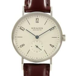 Wristwatch Nomos Tangent Tn1a1w2 Menand039s Used Silver Brown Manual Arabic Numerals