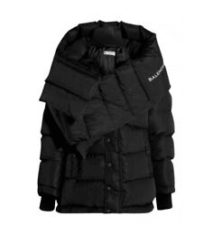 2860 Sold Out Balenciaga Oversized Black Quilted Puffer Jacket With Scarf 38