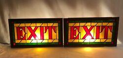 Antique Two Stained Glass Electrified Exit Signs From The 1920and039s Rare Find
