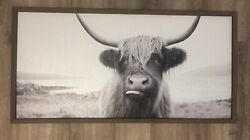 New Farmhouse Black White Highland Cow Sticking Tongue Out Picture Wall Hanging