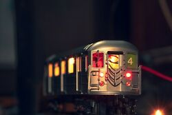 Mth R62 4 Train Subway Car Nycta Mta Nonpowered Customized Red Led Lights