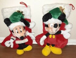Vintage Mickey And Minnie Mouse Musical Christmas Stockings