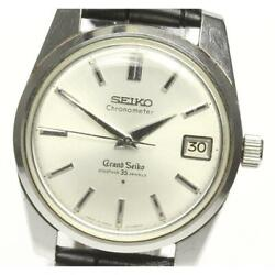 Grand Seiko Antique 43999 Manual Winding Leather Silver Ss Menand039s Watch [b0602]