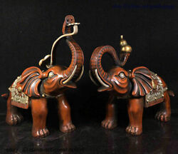 Collect Folk China Chinese Bronze Gilt Silver Plutus Elephant Statue Pair 0313