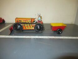 Vintage Marx Wind Up Crawler Tractor And Trailer/plow