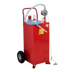 30 Gallon Gas Tank Storage Diesel Fuel Caddy Steel 10 Large Pneumatic Tires Red