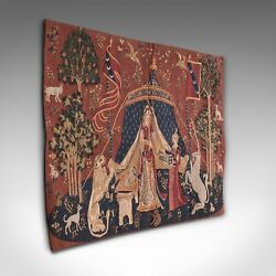 Petite Vintage Tapestry French Hanging Needlepoint The Lady And The Unicorn