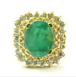 Natural Green Emerald And Diamond Ring 14kt Yellow Gold 2.50ct+1.00ct