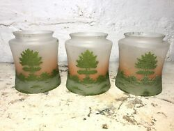Set Of 3 Antique Reverse Painted Glass Gas Lamp Ceiling Light Shade 3 1/4 Fitter