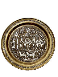 Museum Quality Antique Islamic Mamluk Damascus Silver Inlaid Copper Tray Camel