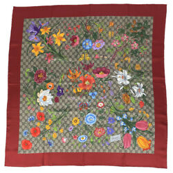 Gg Flora Print Silk Scarf Flower Insect Red Multi Colored Womenand039s 6-102