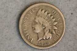 1859 1c Indian Head Cent Penny Copper Nickel Early Us Type Coin First Year