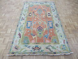 4and03910 X 7and03910 Hand Knotted Salmon Colorful Modern Oushak Oriental Rug G10565